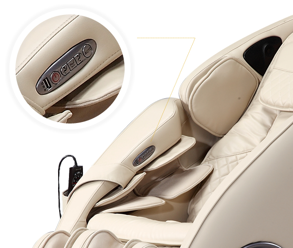 Recline/extend buttons on the right arm.
