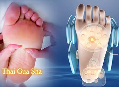 Guasha foot massage.